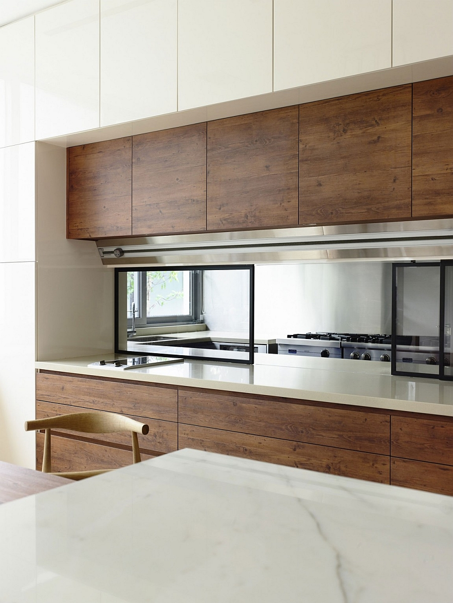 kitchen front in a contemporary kitchen design wearing wood