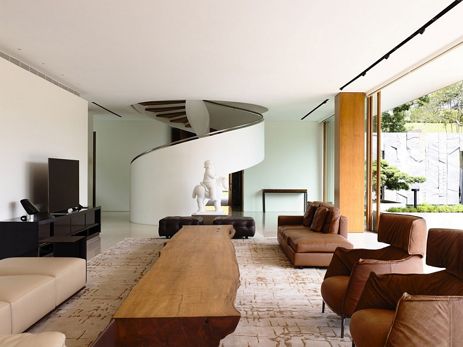 magnificent  Private Residence In Singapore With Enahance by Nature  with spiral staircase in the interior design
