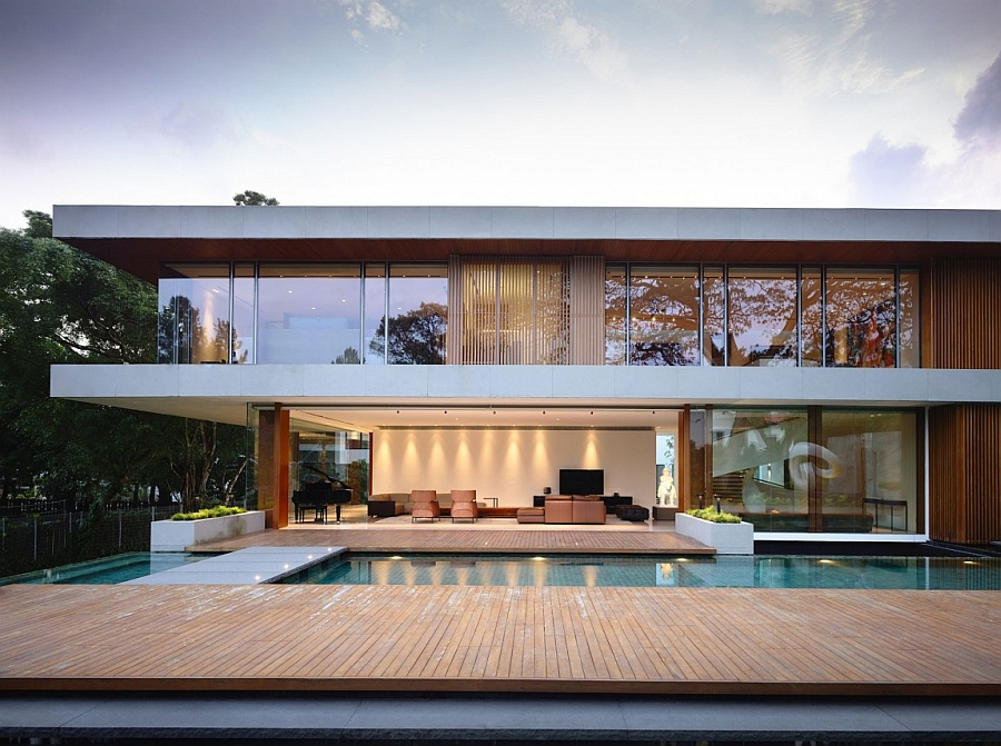 facade of a jaw dropping  Private Residence In Singapore With Enhance by Nature