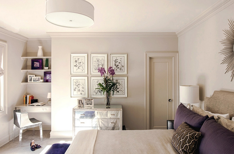 Chic Bedroom Featuring A Compact Workstation In The Corner