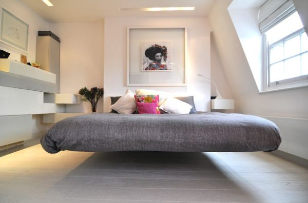 Simple Chic Modern Bedroom With a Gray Bed Floating