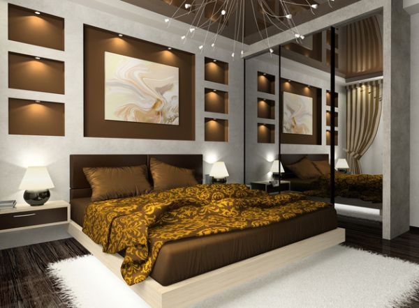 Contemporary Golden and Brown Hues Embracing a Floating Bed