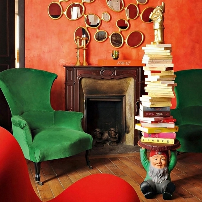 Gnome Side Table Holding Books in an Eclectic Living Room