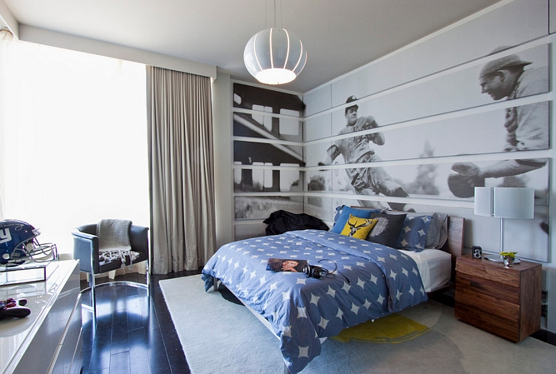 The Corner Here Becomes a Natural Extension of the Wall Behind the Bed Thanks to the Big Mural