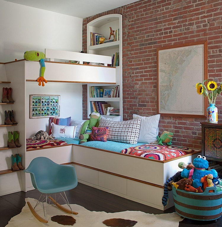 Awesome Corner Bunk Bed Saving Up An Ample Playing Space For Children