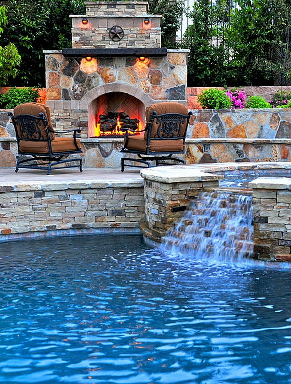 Custom Pool and Spa Fireplace in the Perfect Scenery