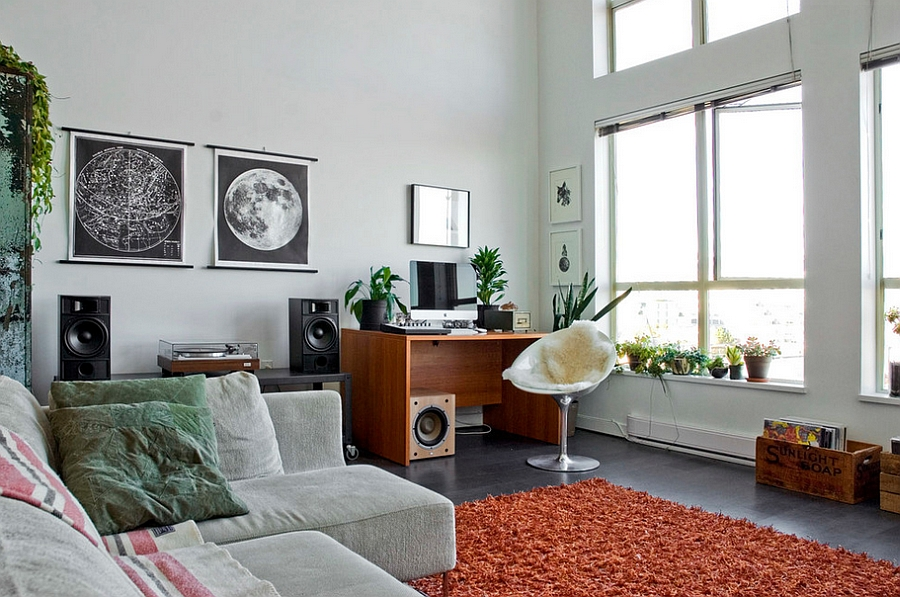 Eclectic Living Room Featuring an Eros Chair
