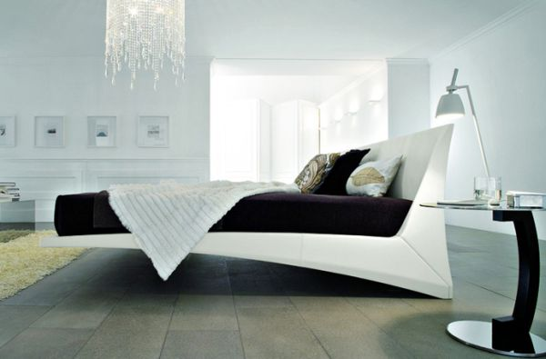 Fascinating Exquisite Floating Bed with Embedded in a Sculptural Shape