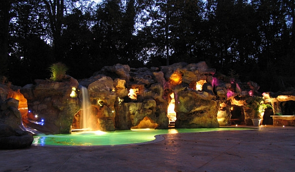 Massive Rock Grotto With a Swimming Pool Bar Included