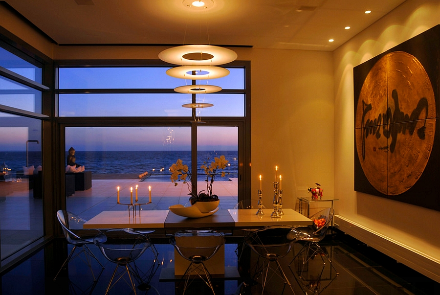 Magnificent Dinning Room with Eros Chairs Meant to Blend into the Backdrop