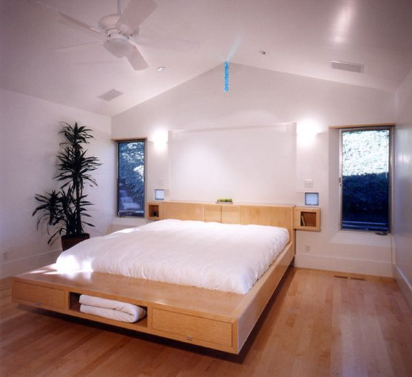 Floating Bed Design With Storage Units Underneath Enhancing The Space
