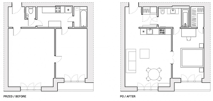 Floor Plan of The Renovated Apartment in Warsaw Before and After