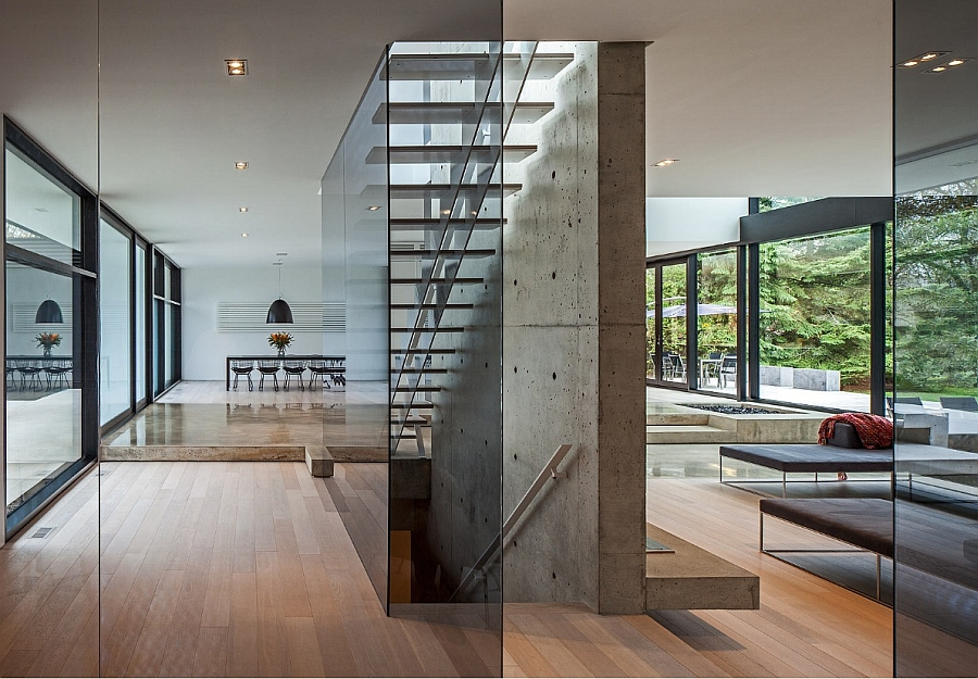 Floating Staircase Frozen in Glass Next to a Concrete Wall