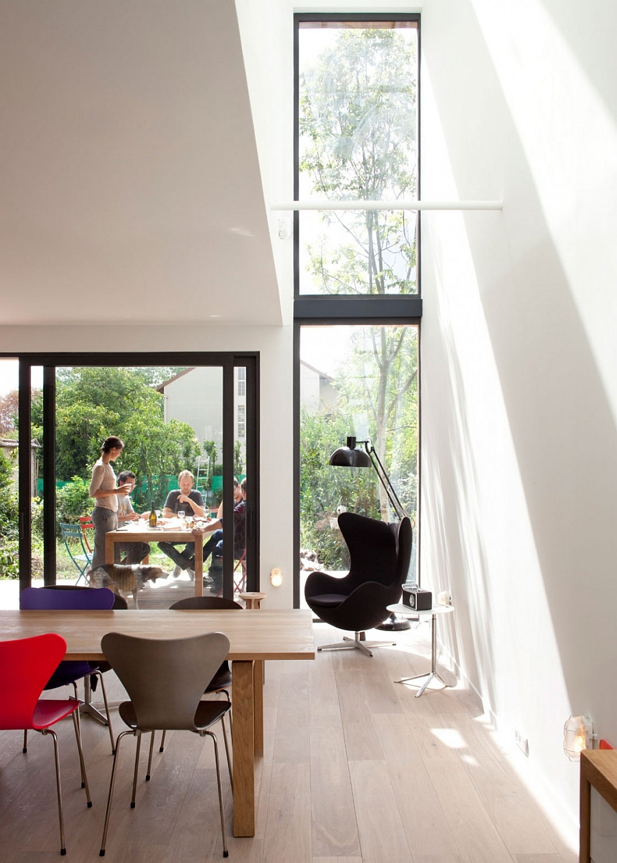 Eco-Sustainable House Timeless and Iconic the Egg Chair by Arne Jacobsen Sits in a Corner Flooded by Natural Light