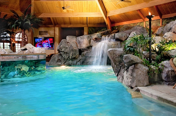 Indoor Pool Featuring a Waterfall That Can Be Enjoyed During Cold Seasons