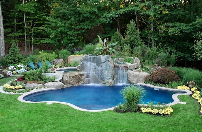 Landscape Around the Pool And Waterfall Providing a Natural Elegant Vibe