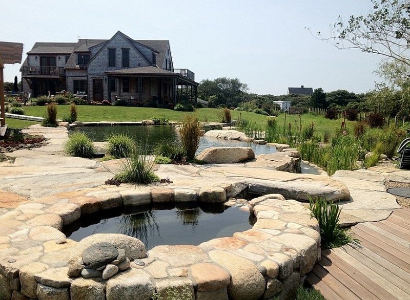 Backyard landscaping ideas natural pools shaping an for Natural stone around pool