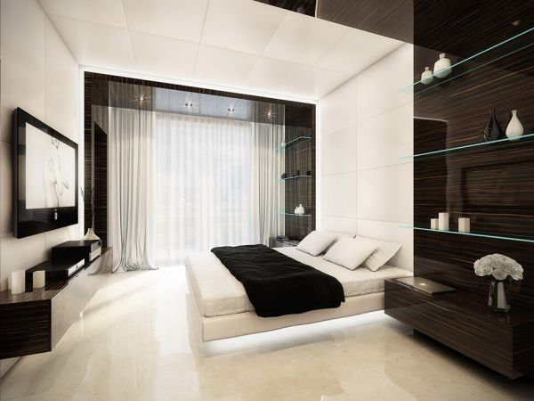 Black And White Bedroom Design Featuring A Floating