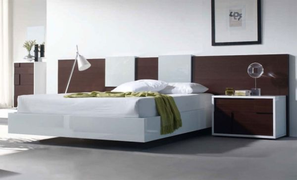Bold Modern Floating Bed In A Soothing Setting