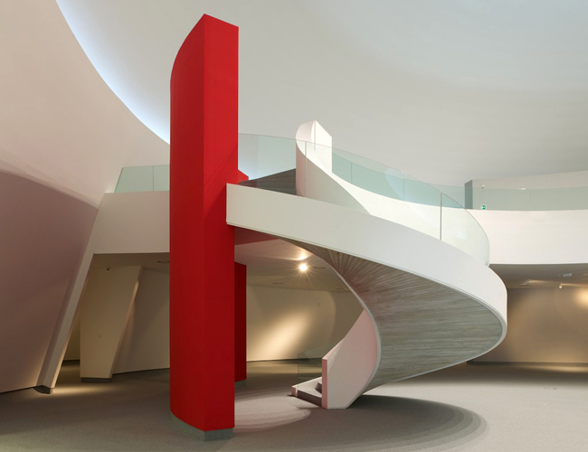 interior circular staircase in Modernism at Its Best-The Niemeyer Center by Oscar Niemeyer Homesthetics