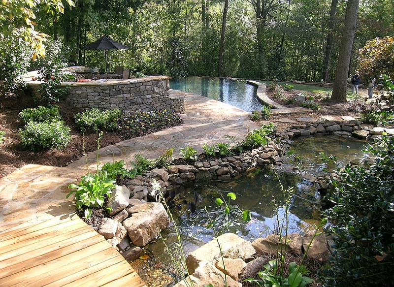 Natural Pool Coupled With Multiple Ponds and Intricate Pathways in an  Extensive Natural Landscape
