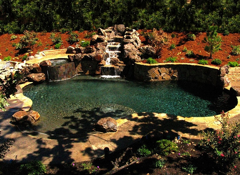 backyard landscaping ideas natural pools shaping an alluring retreat. Black Bedroom Furniture Sets. Home Design Ideas