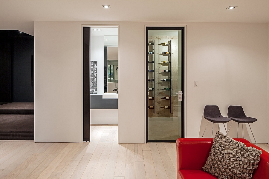 Small Private Wine Cellar in the Basement Wearing a Modern Flair