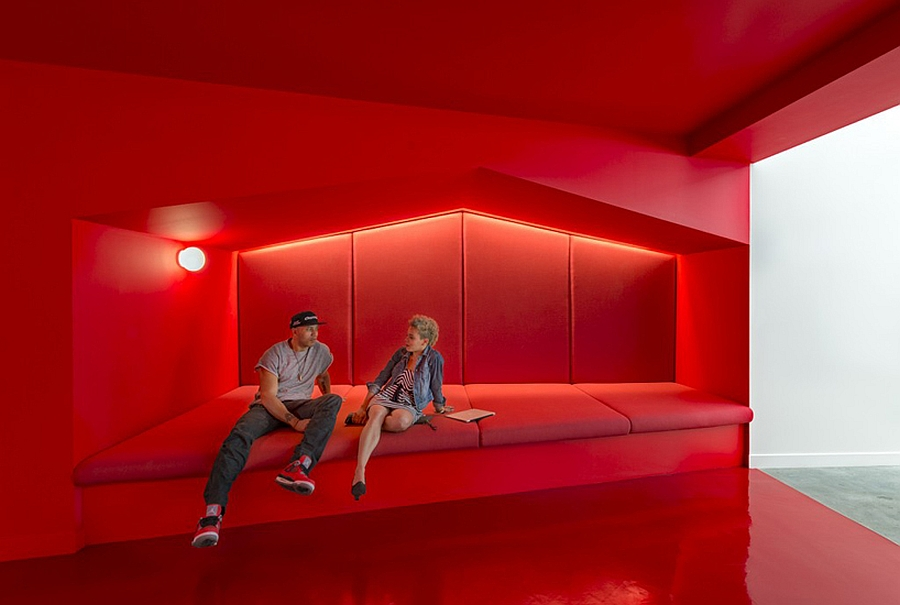 Vibrant Red Relaxing Lounges Inside the Beats Headquarters