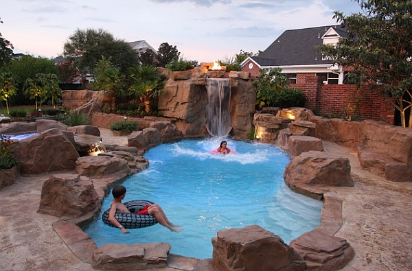 Awesome Rock Swimming Pool Design With Waterfall Feature