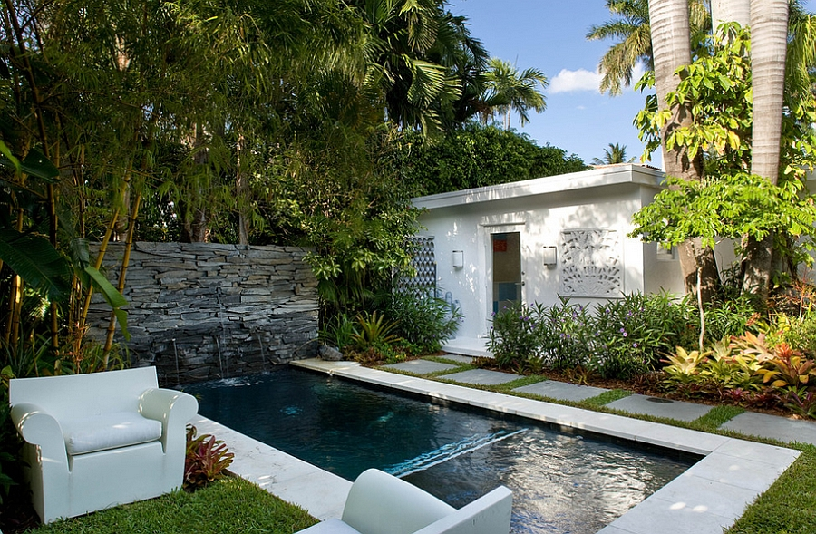 Simple and Stylish Poolside Retreat with Bubble Club Chairs in White