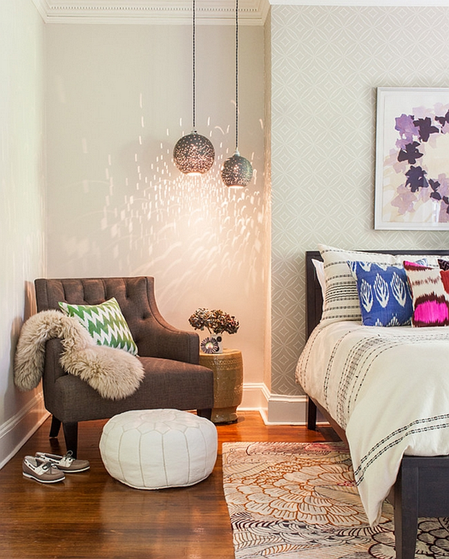 Moroccan Flavor Added Through a Simple and Trendy Reading Nook in the Bedroom