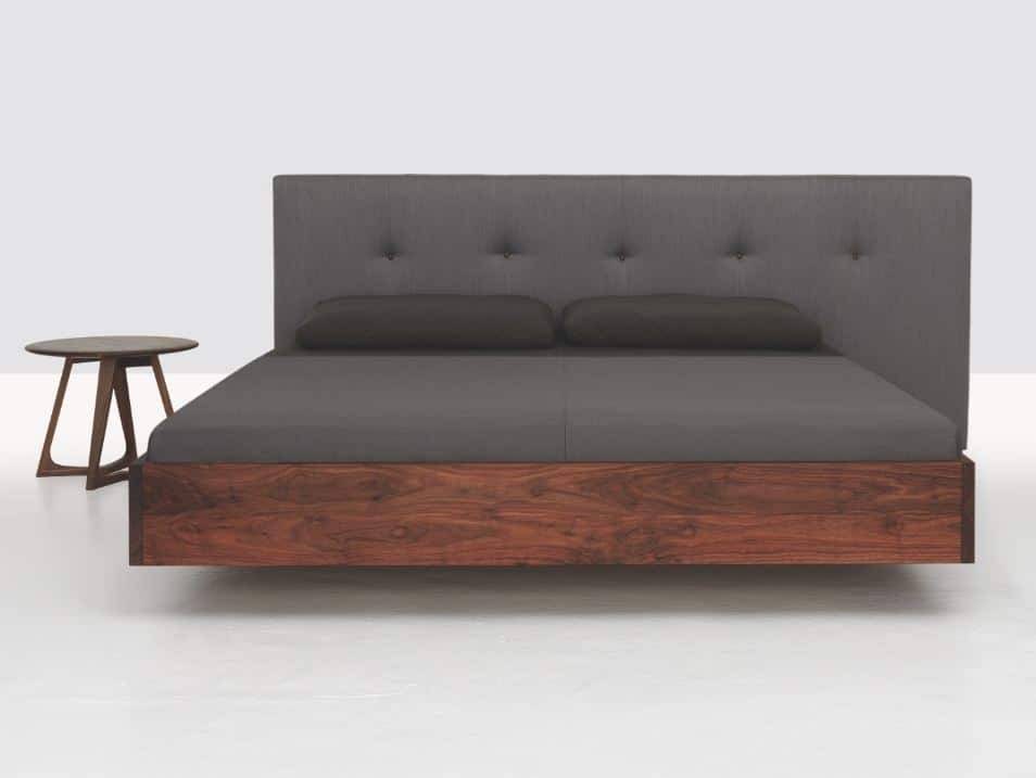 Simple-button-wooden-double-bed