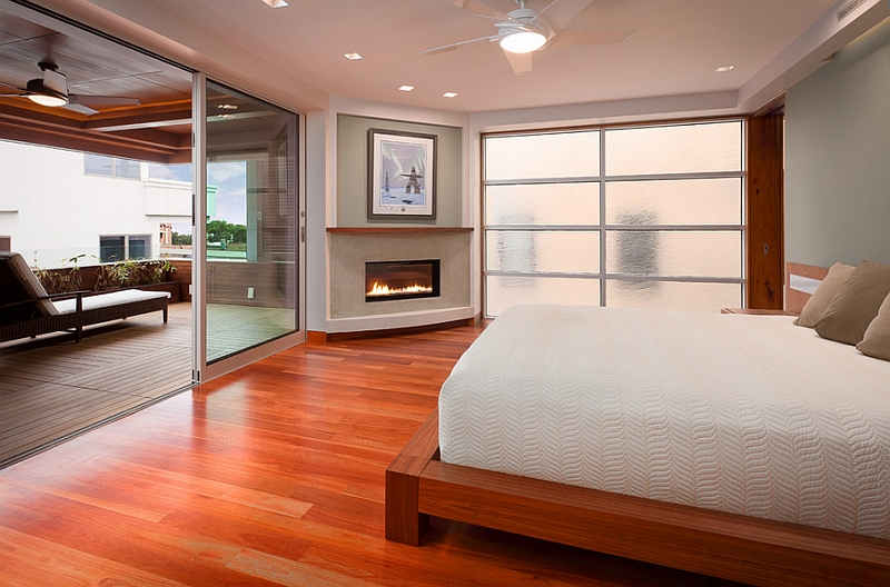Neat Simple Corner Fireplace Adding Elegance to the Serene Bedroom
