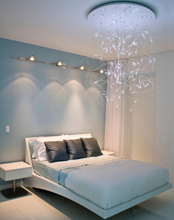Sleek Modern Bedroom Design Enhanced By A Pendant Light And A Floating Bed