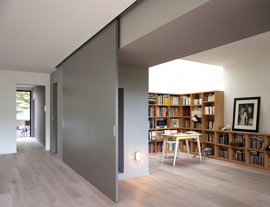 Huge Sliding Door Protects the Home Office From Noise and Distractions