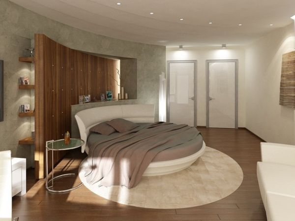 Classical yet simple round bed bedroom.