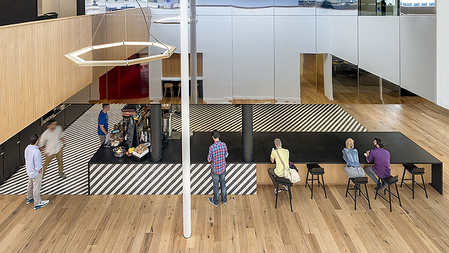 Stripped Pattern on the Floor Offering Identity to the Bar  Distorting the Perspective
