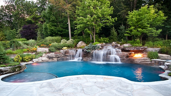 Swimming Pool Waterfall That Flows Naturally