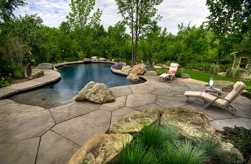 Backyard landscaping ideas natural pools shaping an for Natural rock swimming pools