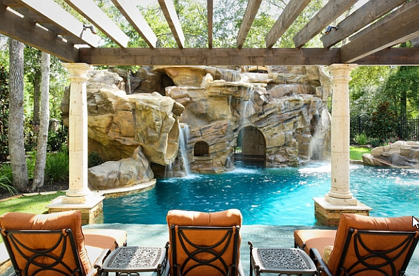 Waterfalls Serving as the Main Focal Point on a Pergola Covered Patio