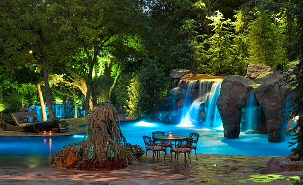 Custom Created LED Lights Shows Enhancing This Phenomenal Grotto And Waterfall Design