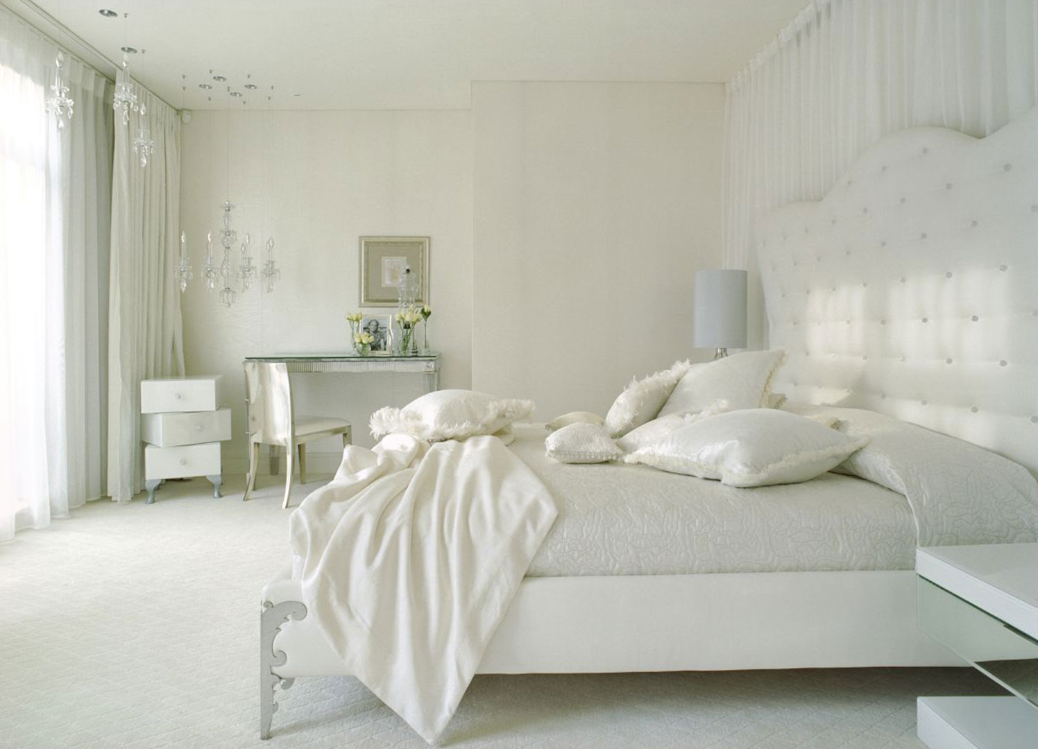 White Bedroom Design Idea And Beige