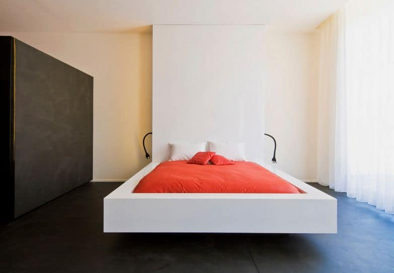 White Geometric Floating Bed