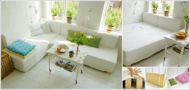 L Shaped Couch that Transforms into a Bed