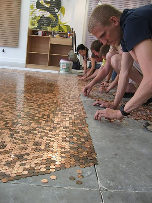 Creative DIY Ideas penny flooring