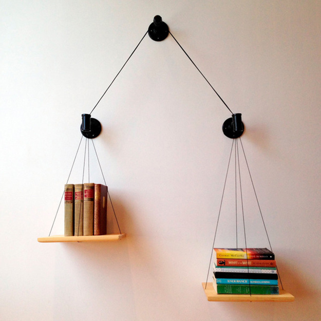 Creative DIY Ideas balanced bookshelf