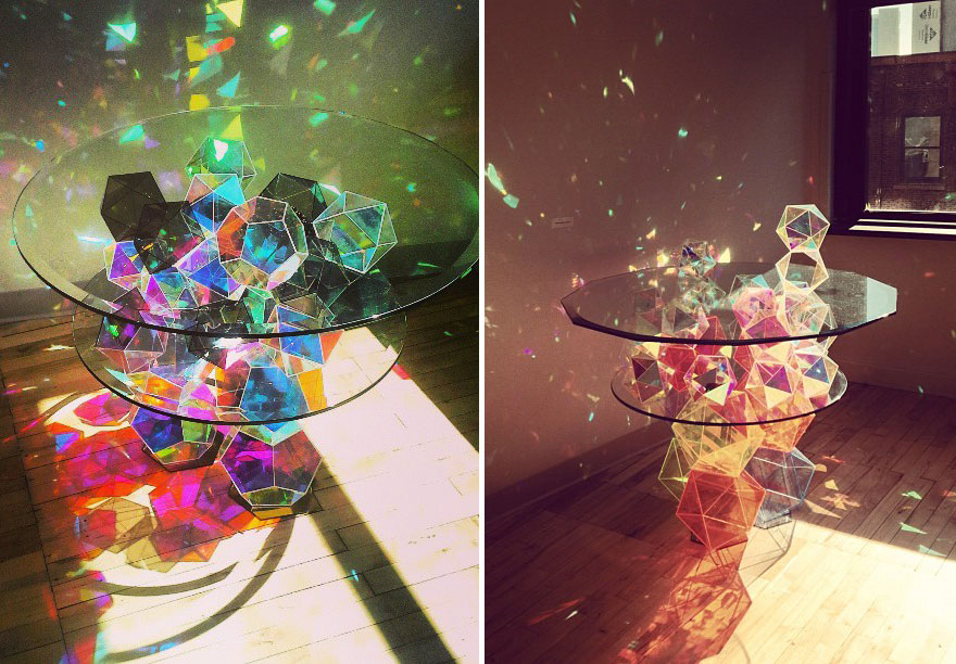 Colorful Geometric Disco Table