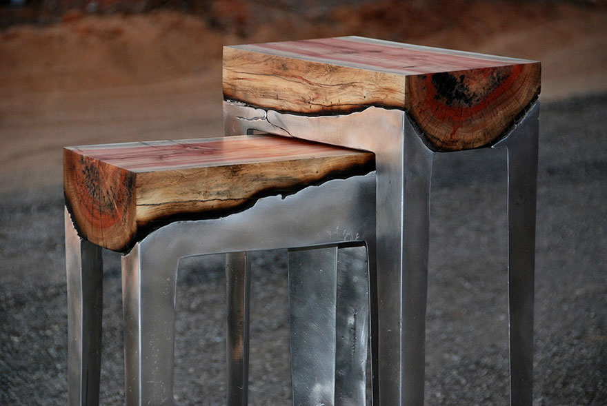 Logs and Aluminium Chairs