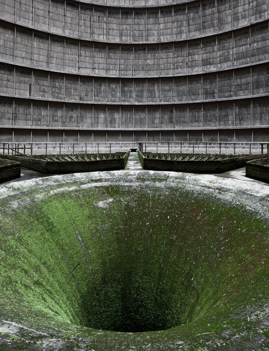 I.M. Cooling Tower slowly reclaimed by Vegetation, Belgium