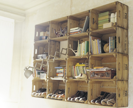 Old Boxes Used as Shelves